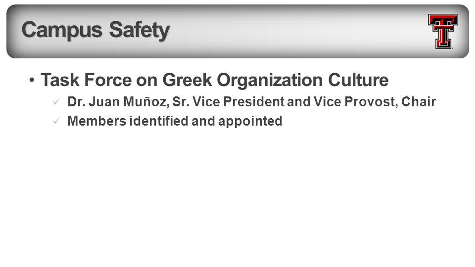 Campus Safety Task Force on Greek Organization Culture Dr.