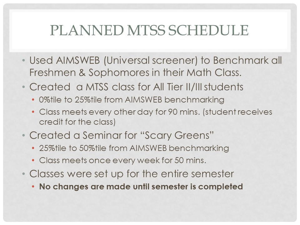 PLANNED MTSS SCHEDULE Used AIMSWEB (Universal screener) to Benchmark all Freshmen & Sophomores in their Math Class.