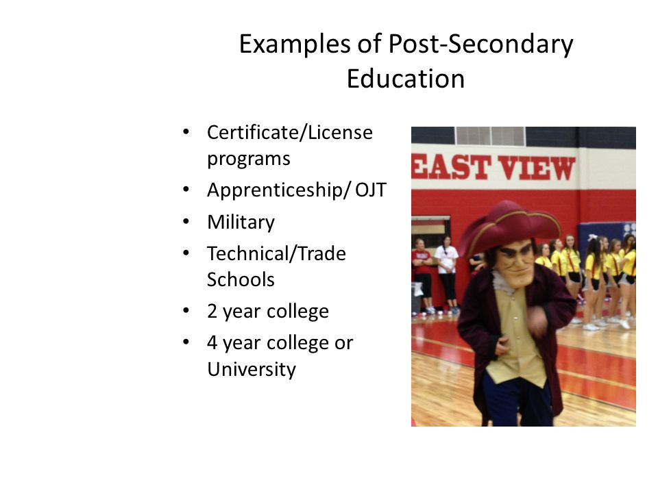 Examples of Post-Secondary Education Certificate/License programs Apprenticeship/ OJT Military Technical/Trade Schools 2 year college 4 year college or University