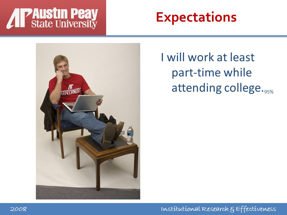 Institutional Research & Effectiveness Expectations I will work at least part-time while attending college.