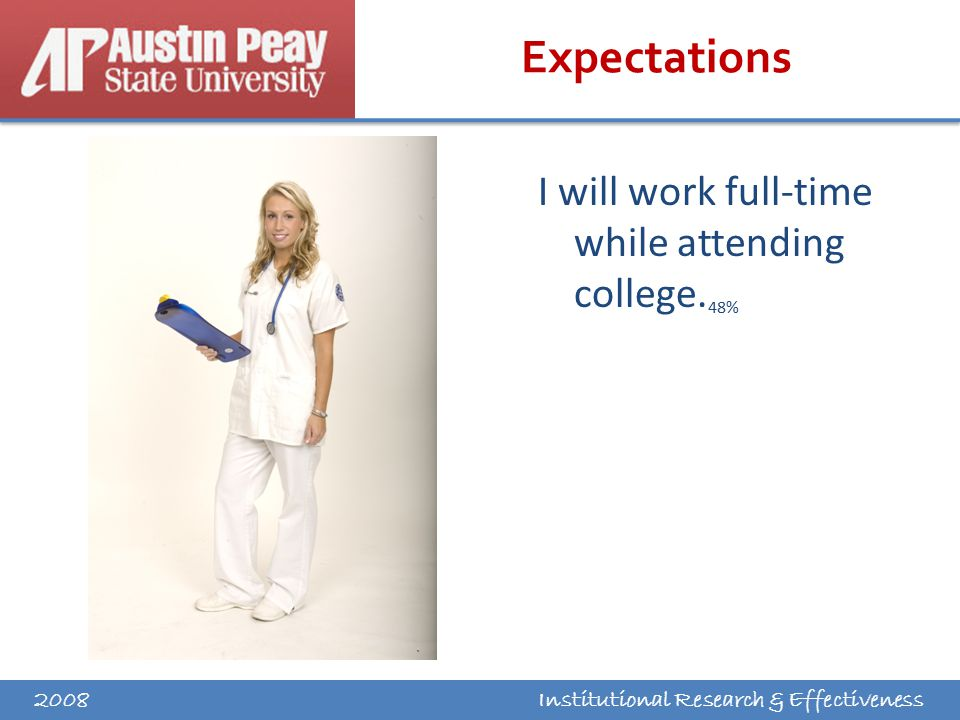 Institutional Research & Effectiveness Expectations I will work full-time while attending college.