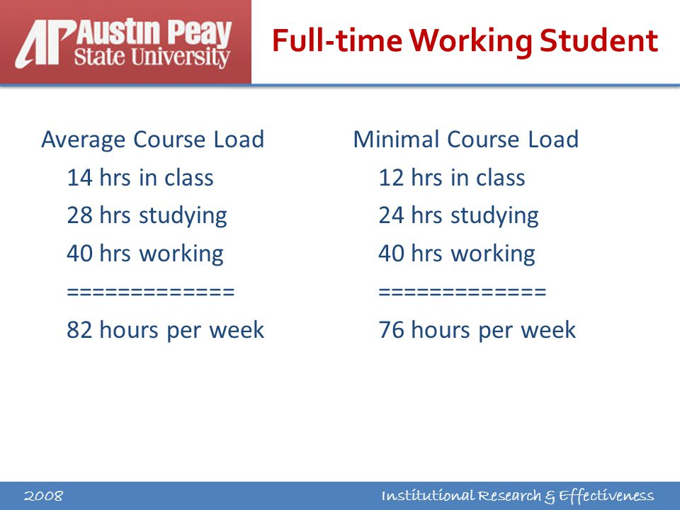 Institutional Research & Effectiveness Full-time Working Student Average Course Load 14 hrs in class 28 hrs studying 40 hrs working ============= 82 hours per week Minimal Course Load 12 hrs in class 24 hrs studying 40 hrs working ============= 76 hours per week 2008