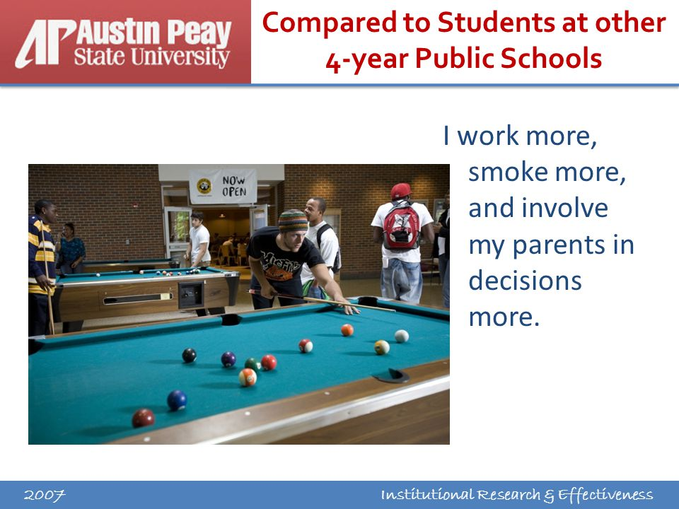 Institutional Research & Effectiveness Compared to Students at other 4-year Public Schools I work more, smoke more, and involve my parents in decisions more.