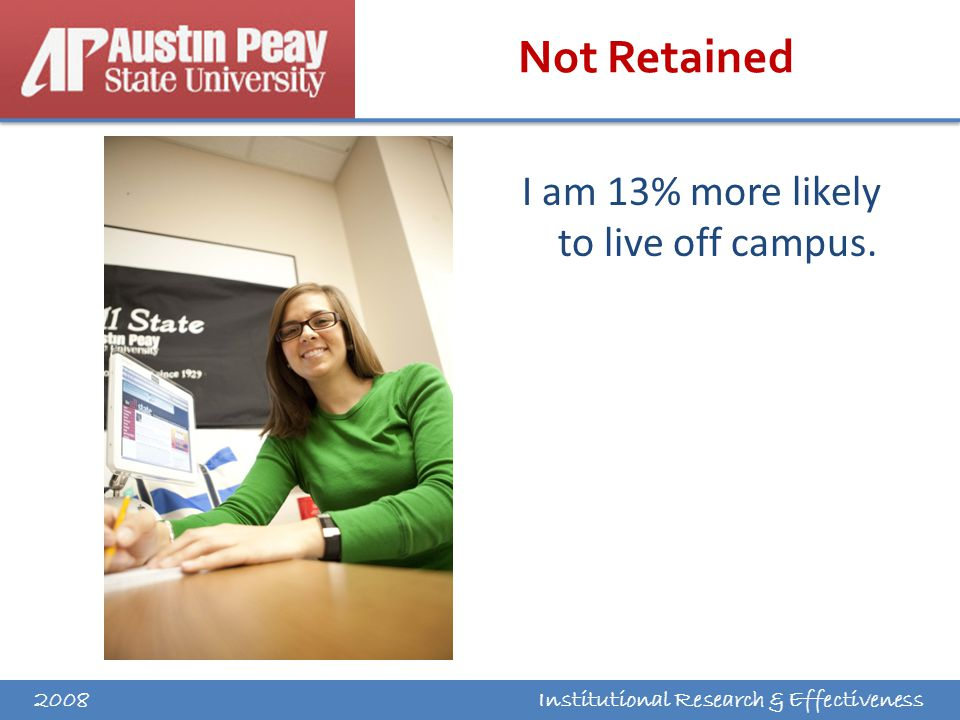 Institutional Research & Effectiveness Not Retained I am 13% more likely to live off campus. 2008