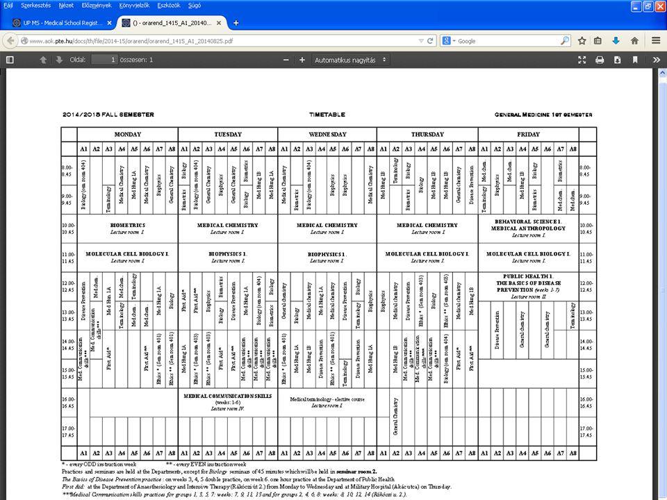 www.medschool.pte.hu Timetable