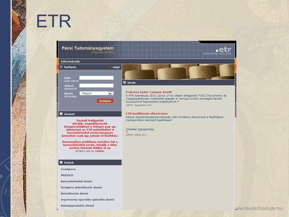 www.medschool.pte.hu ETR