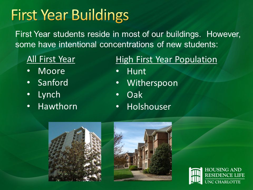 All First Year Moore Sanford Lynch Hawthorn High First Year Population Hunt Witherspoon Oak Holshouser First Year students reside in most of our buildings.