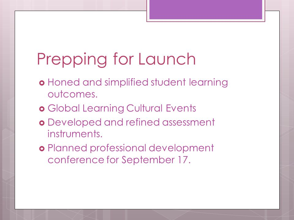 Prepping for Launch  Honed and simplified student learning outcomes.