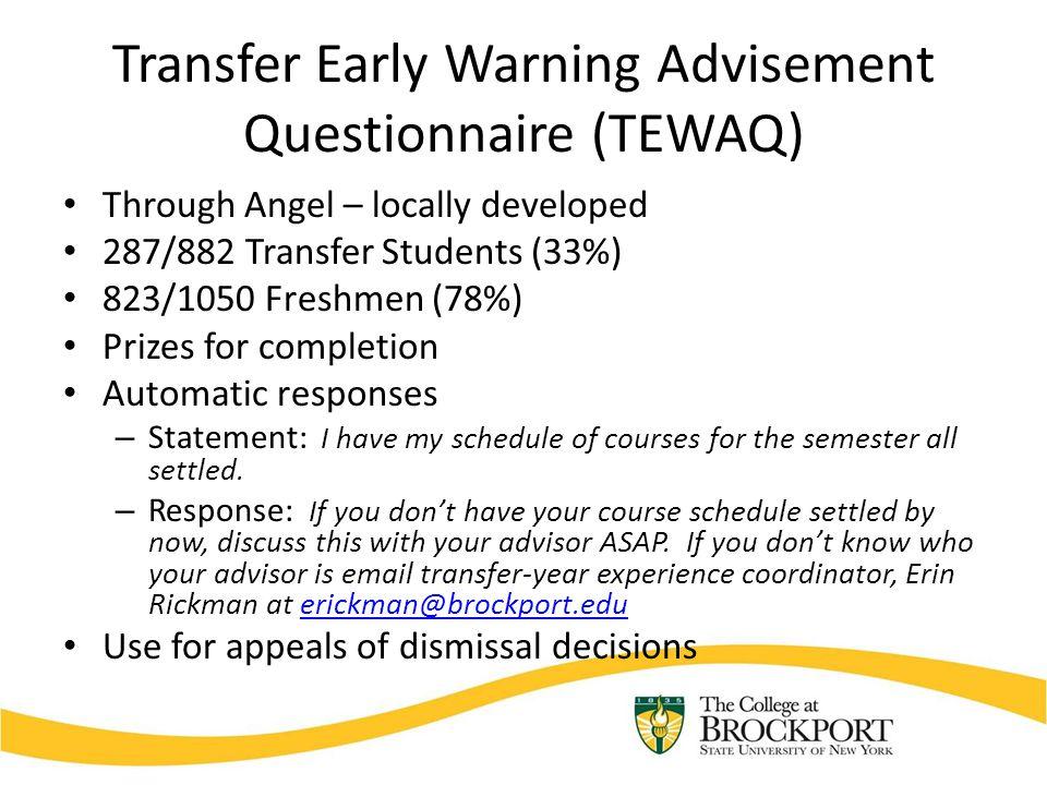 Transfer Early Warning Advisement Questionnaire (TEWAQ) Through Angel – locally developed 287/882 Transfer Students (33%) 823/1050 Freshmen (78%) Priz