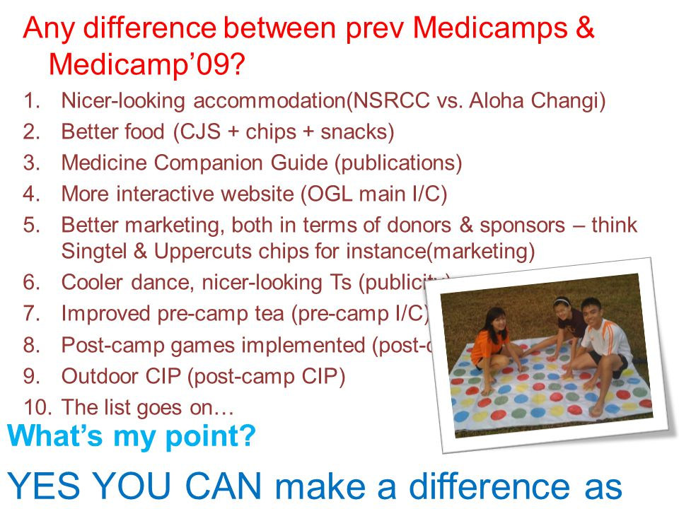 Any difference between prev Medicamps & Medicamp'09.