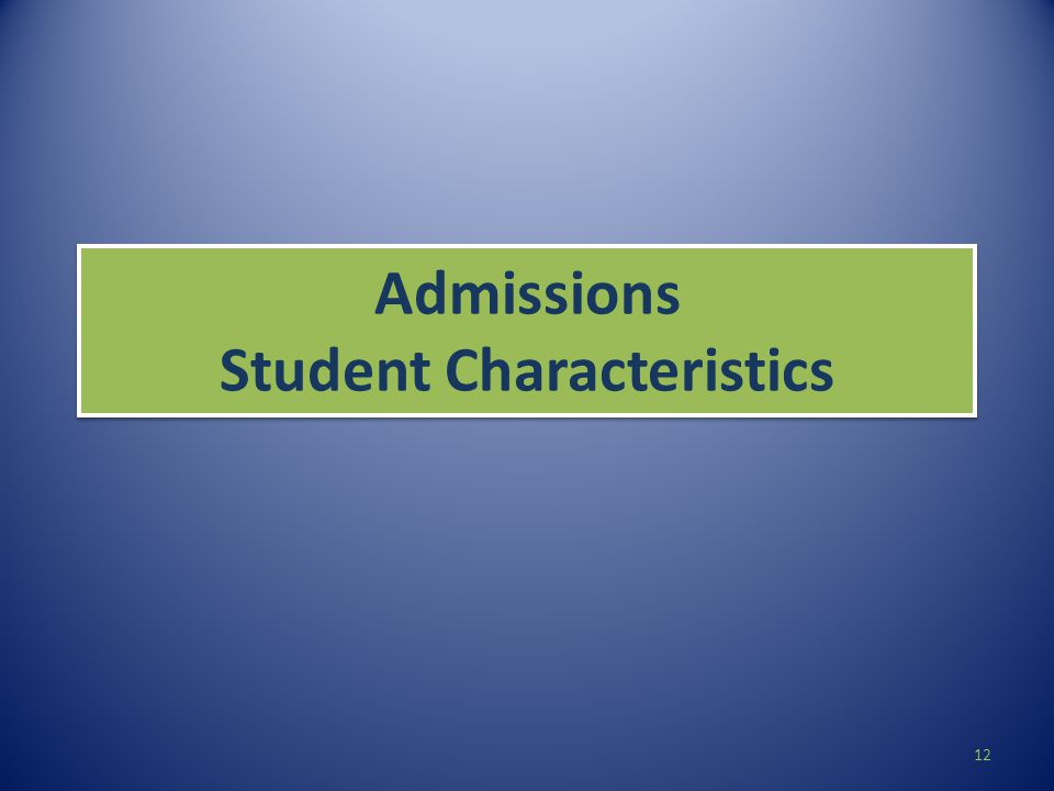 Admissions Student Characteristics 12