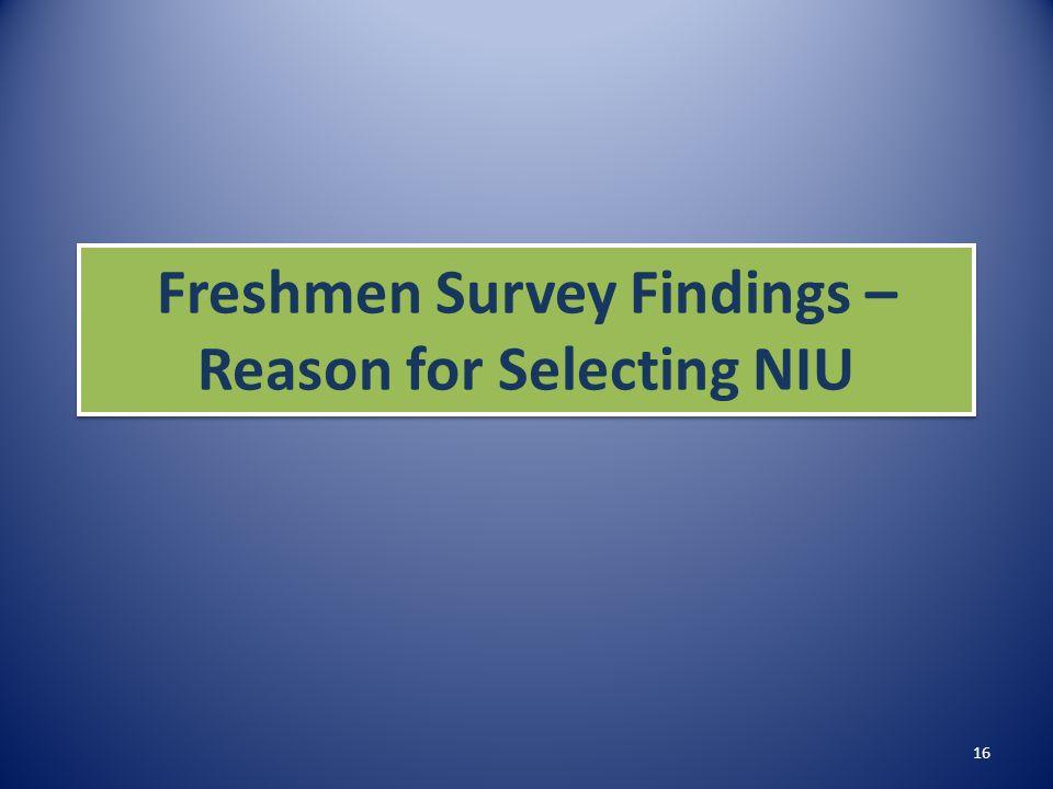Freshmen Survey Findings – Reason for Selecting NIU 16