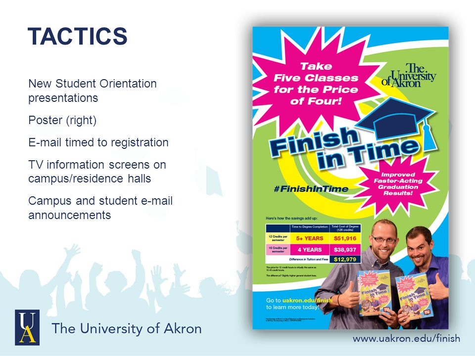 TACTICS New Student Orientation presentations Poster (right) E-mail timed to registration TV information screens on campus/residence halls Campus and