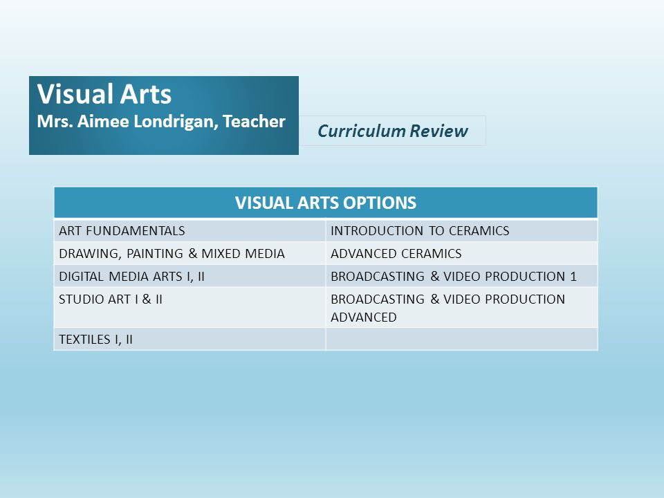 Curriculum Review Visual Arts Mrs.
