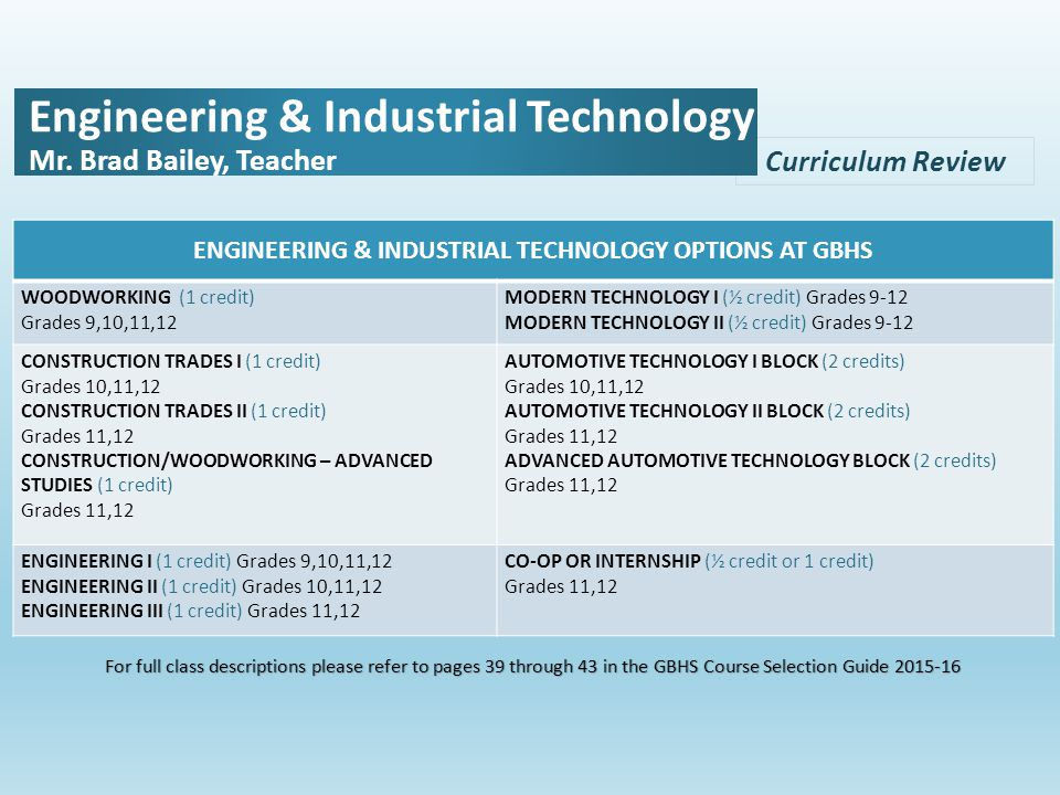 Curriculum Review Engineering & Industrial Technology Mr.