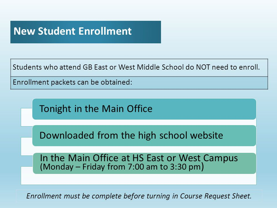 New Student Enrollment Students who attend GB East or West Middle School do NOT need to enroll.
