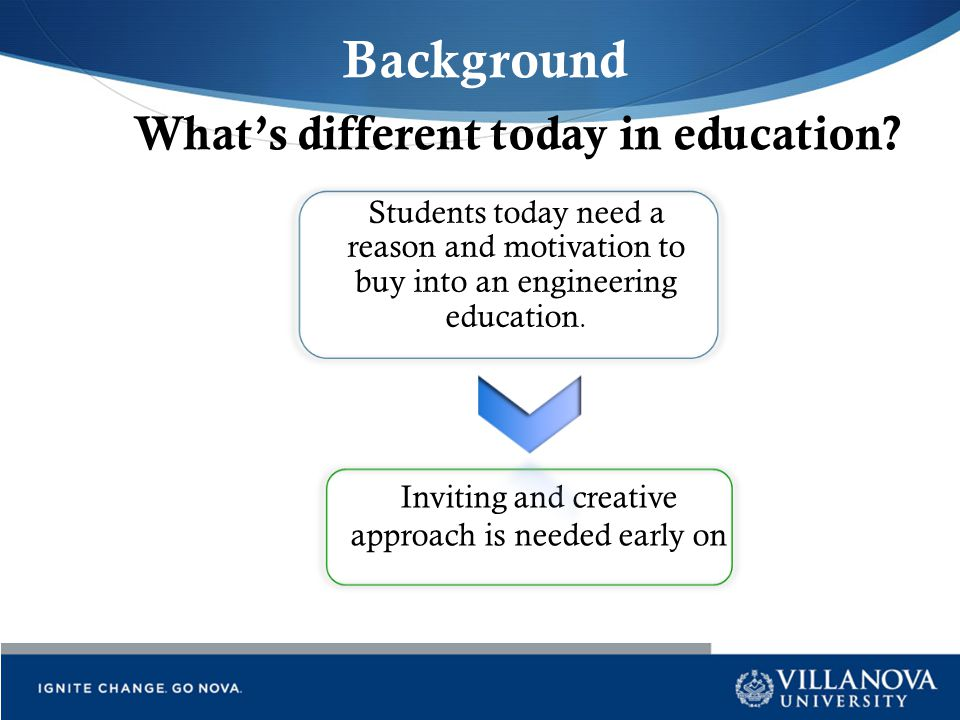What's different today in education?? Students today need a reason and motivation to buy into an engineering education. Inviting and creative approach