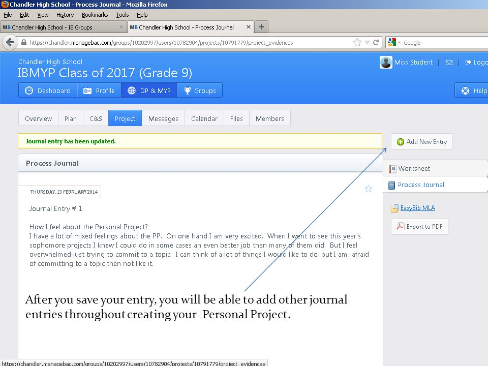 After you save your entry, you will be able to add other journal entries throughout creating your Personal Project.