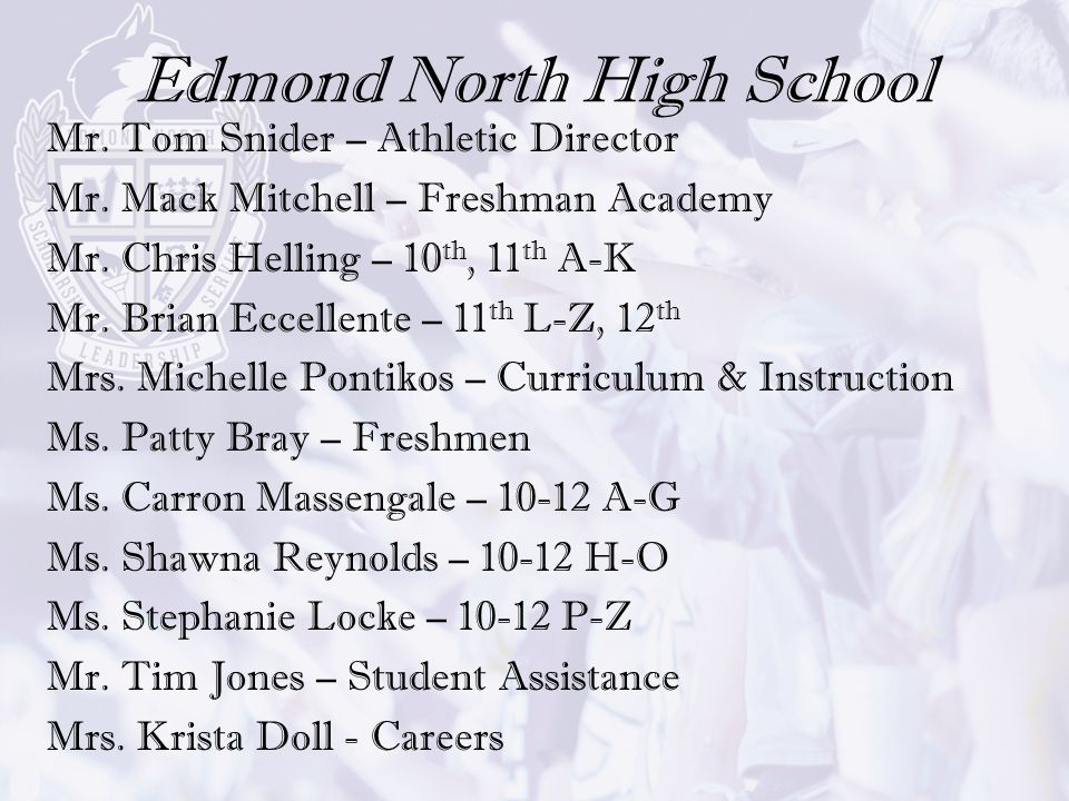 Edmond North High School Mr. Tom Snider – Athletic Director Mr. Mack Mitchell – Freshman Academy Mr. Chris Helling – 10 th, 11 th A-K Mr. Brian Eccell