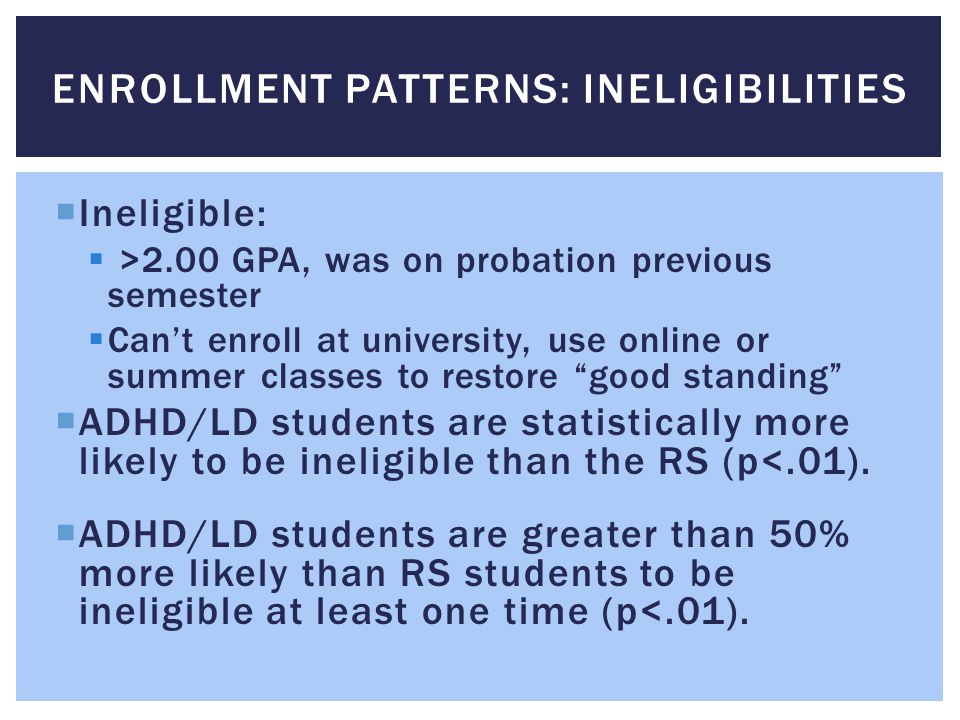 " Ineligible:  >2.00 GPA, was on probation previous semester  Can't enroll at university, use online or summer classes to restore ""good standing"" "
