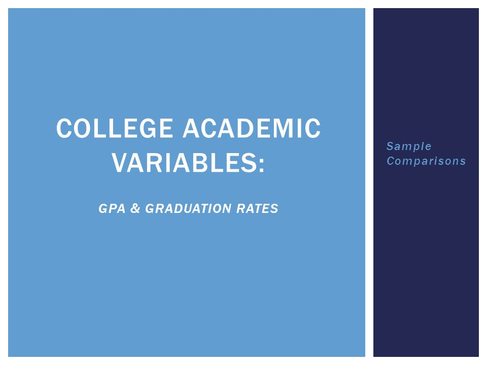 Sample Comparisons COLLEGE ACADEMIC VARIABLES: GPA & GRADUATION RATES