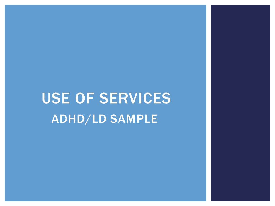 USE OF SERVICES ADHD/LD SAMPLE