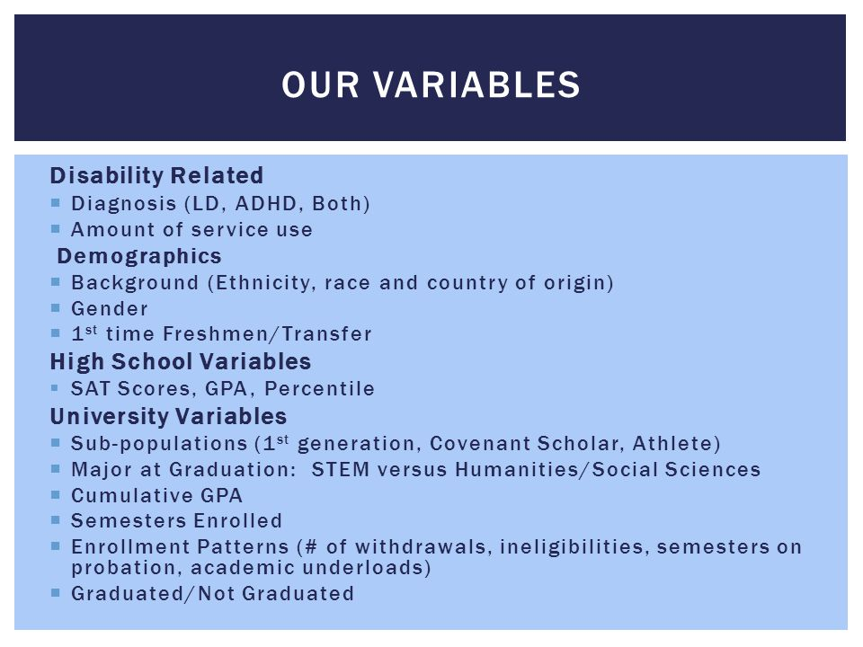 Sample Comparisons ENROLLMENT PATTERNS 2002-2010 ADHD/LD N=1193 RS N=8994