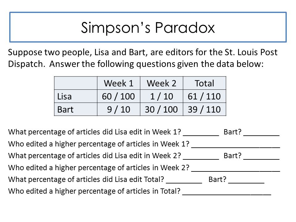 Simpson's Paradox Suppose two people, Lisa and Bart, are editors for the St.
