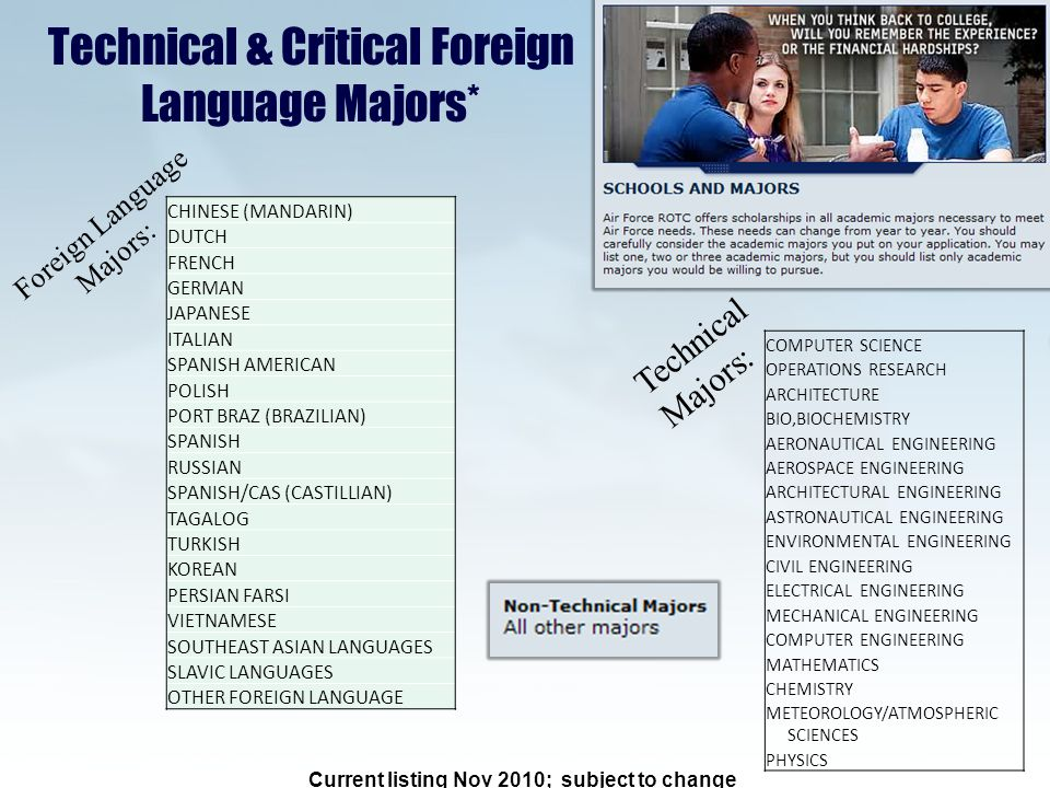 Technical & Critical Foreign Language Majors* Current listing Nov 2010; subject to change COMPUTER SCIENCE OPERATIONS RESEARCH ARCHITECTURE BIO,BIOCHEMISTRY AERONAUTICAL ENGINEERING AEROSPACE ENGINEERING ARCHITECTURAL ENGINEERING ASTRONAUTICAL ENGINEERING ENVIRONMENTAL ENGINEERING CIVIL ENGINEERING ELECTRICAL ENGINEERING MECHANICAL ENGINEERING COMPUTER ENGINEERING MATHEMATICS CHEMISTRY METEOROLOGY/ATMOSPHERIC SCIENCES PHYSICS Technical Majors: CHINESE (MANDARIN) DUTCH FRENCH GERMAN JAPANESE ITALIAN SPANISH AMERICAN POLISH PORT BRAZ (BRAZILIAN) SPANISH RUSSIAN SPANISH/CAS (CASTILLIAN) TAGALOG TURKISH KOREAN PERSIAN FARSI VIETNAMESE SOUTHEAST ASIAN LANGUAGES SLAVIC LANGUAGES OTHER FOREIGN LANGUAGE Foreign Language Majors: