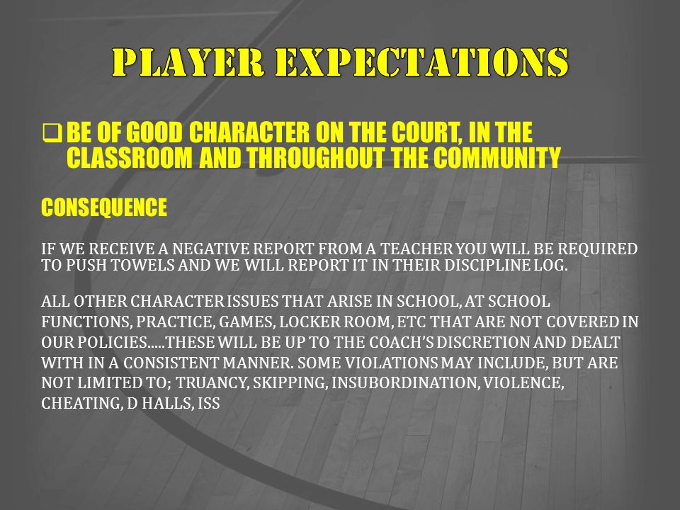  COACH'S PHILOSOPHY  THE EXPECTATION HE HAS FOR YOUR SON AND ALL THE OTHER PLAYERS ON THE TEAM.
