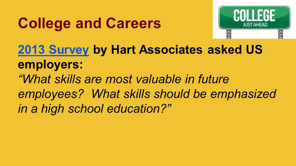 College and Careers 2013 Survey2013 Survey by Hart Associates asked US employers: What skills are most valuable in future employees.