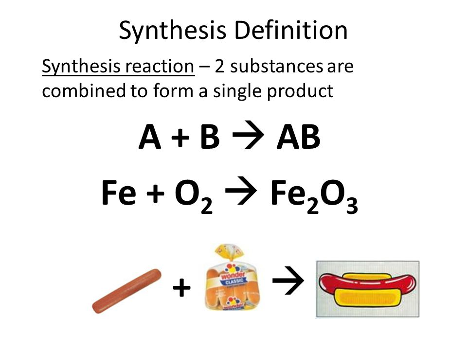 Decomposition Definition Decomposition reaction – A single compound is broken down into 2 or more products. AB  A + B H 2 O  H 2 + O 2  +