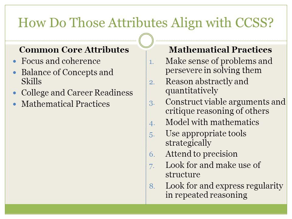 How Do Those Attributes Align with CCSS? Common Core Attributes Focus and coherence Balance of Concepts and Skills College and Career Readiness Mathem