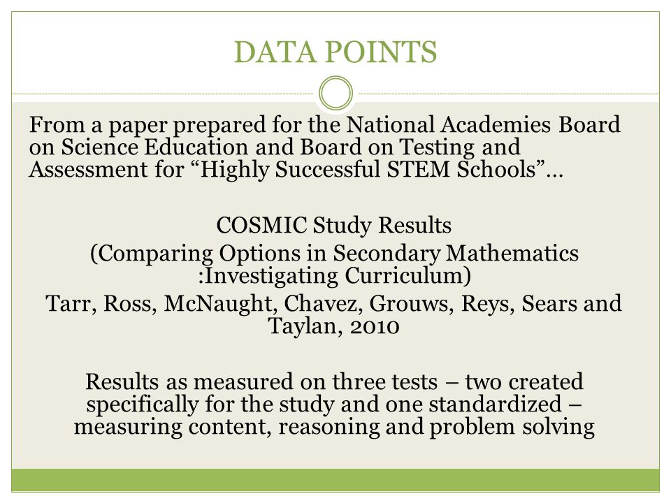 """DATA POINTS From a paper prepared for the National Academies Board on Science Education and Board on Testing and Assessment for """"Highly Successful STE"""