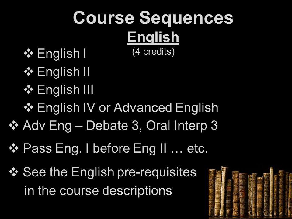 Course Sequences English (4 credits)  English I  English II  English III  English IV or Advanced English  Adv Eng – Debate 3, Oral Interp 3  Pass Eng.