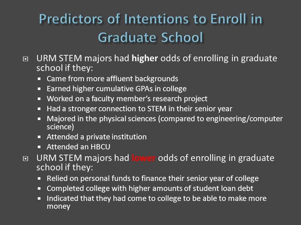 URM STEM majors had higher odds of enrolling in graduate school if they:  Came from more affluent backgrounds  Earned higher cumulative GPAs in college  Worked on a faculty member's research project  Had a stronger connection to STEM in their senior year  Majored in the physical sciences (compared to engineering/computer science)  Attended a private institution  Attended an HBCU  URM STEM majors had lower odds of enrolling in graduate school if they:  Relied on personal funds to finance their senior year of college  Completed college with higher amounts of student loan debt  Indicated that they had come to college to be able to make more money