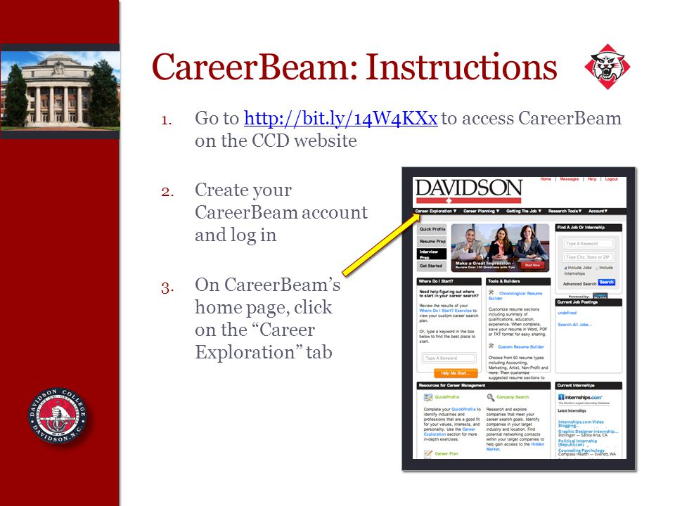 CareerBeam: Instructions 1.