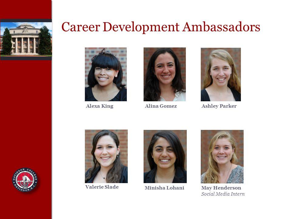 Career Development Ambassadors Alexa KingAlina GomezAshley Parker Valerie Slade Minisha LohaniMay Henderson Social Media Intern