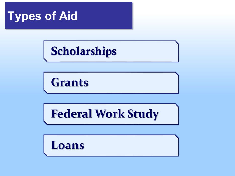 Types of Aid Scholarships Grants Federal Work Study Loans