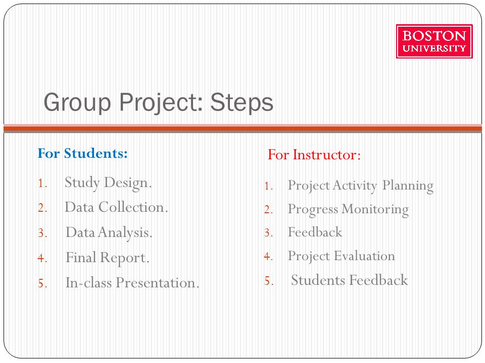 Group Project: Steps For Students: For Instructor: 1.
