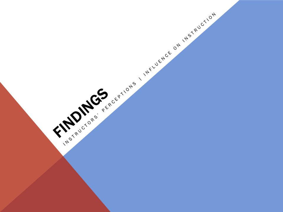 FINDINGS INSTRUCTORS' PERCEPTIONS | INFLUENCE ON INSTRUCTION