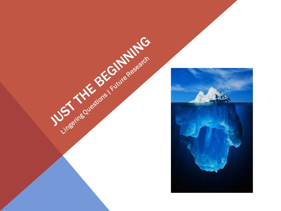JUST THE BEGINNING Lingering Questions | Future Research