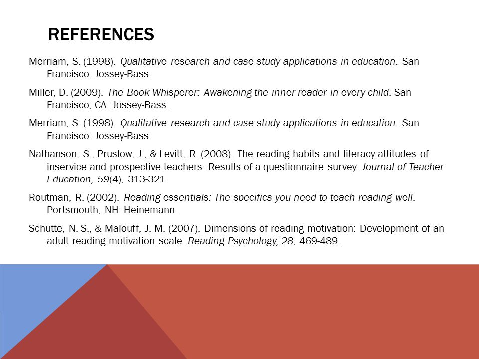REFERENCES Merriam, S. (1998). Qualitative research and case study applications in education.