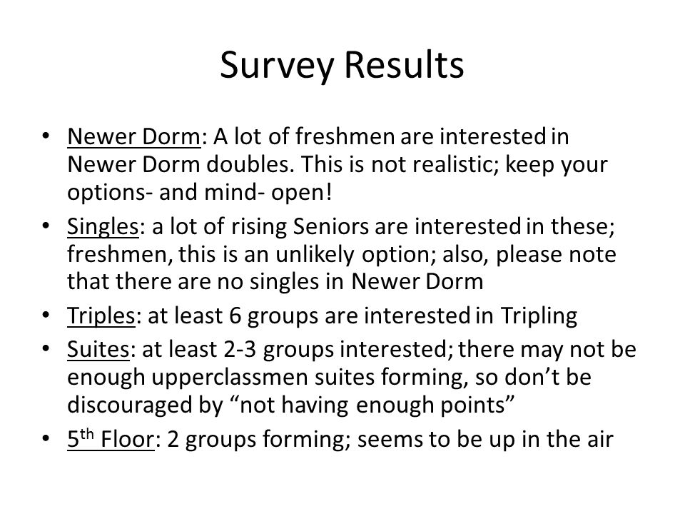 Survey Results Newer Dorm: A lot of freshmen are interested in Newer Dorm doubles. This is not realistic; keep your options- and mind- open! Singles: