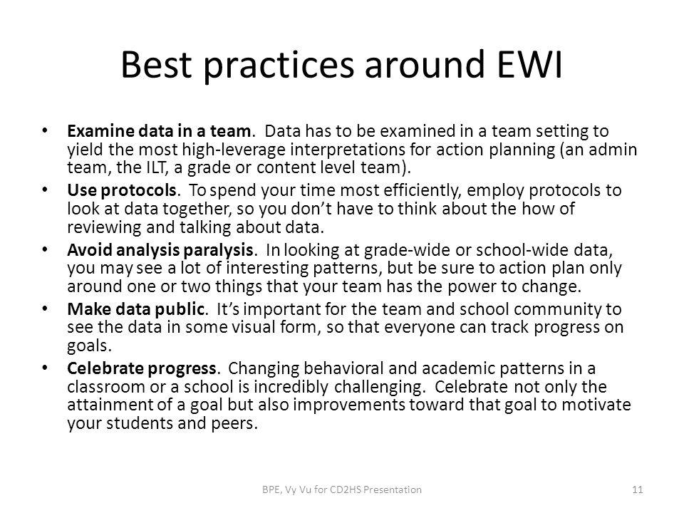 Best practices around EWI Examine data in a team.