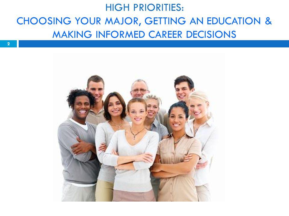HIGH PRIORITIES: CHOOSING YOUR MAJOR, GETTING AN EDUCATION & MAKING INFORMED CAREER DECISIONS 2
