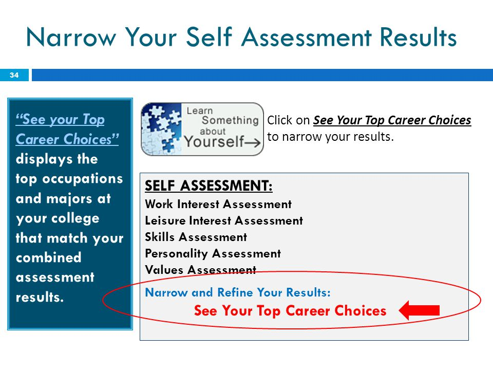 """Narrow Your Self Assessment Results 34 """"See your Top Career Choices"""" displays the top occupations and majors at your college that match your combined"""