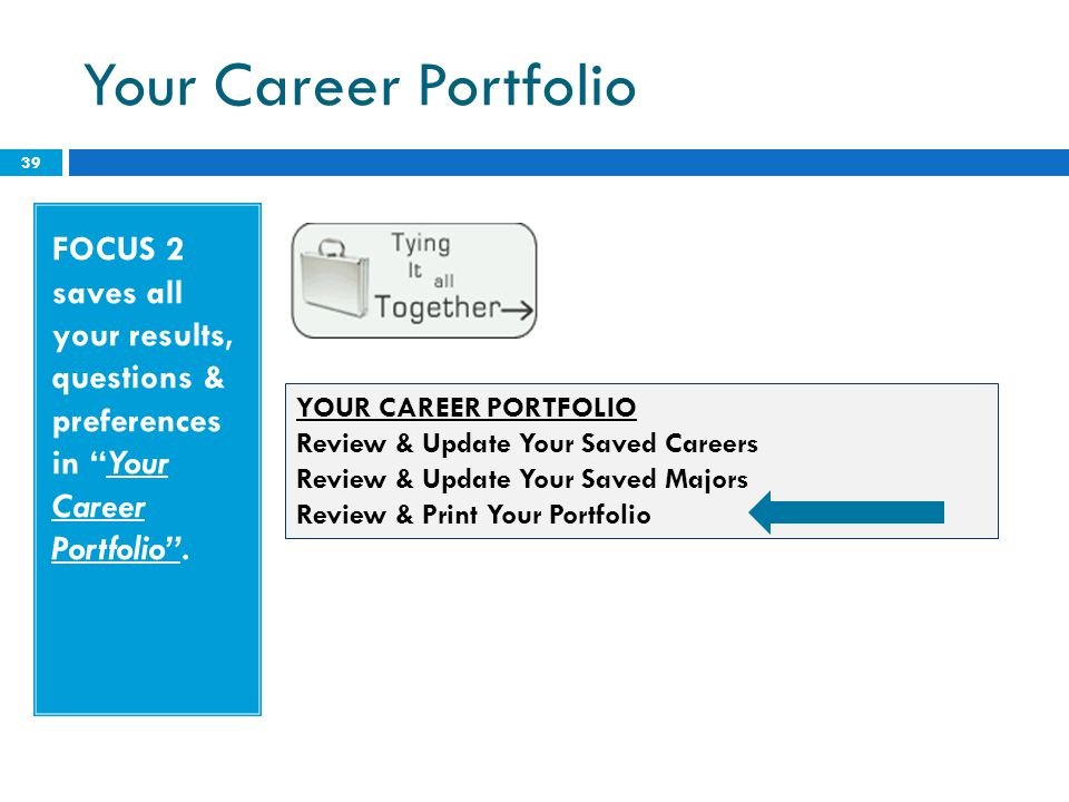 """Your Career Portfolio 39 FOCUS 2 saves all your results, questions & preferences in """"Your Career Portfolio"""". YOUR CAREER PORTFOLIO Review & Update You"""