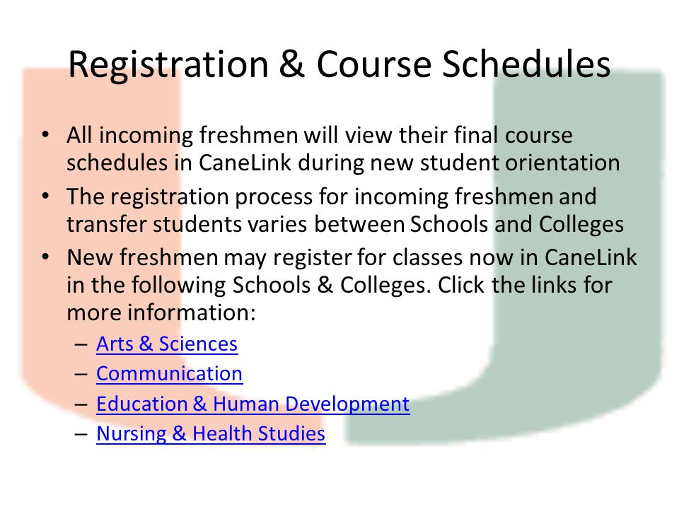 Registration & Course Schedules All incoming freshmen will view their final course schedules in CaneLink during new student orientation The registration process for incoming freshmen and transfer students varies between Schools and Colleges New freshmen may register for classes now in CaneLink in the following Schools & Colleges.