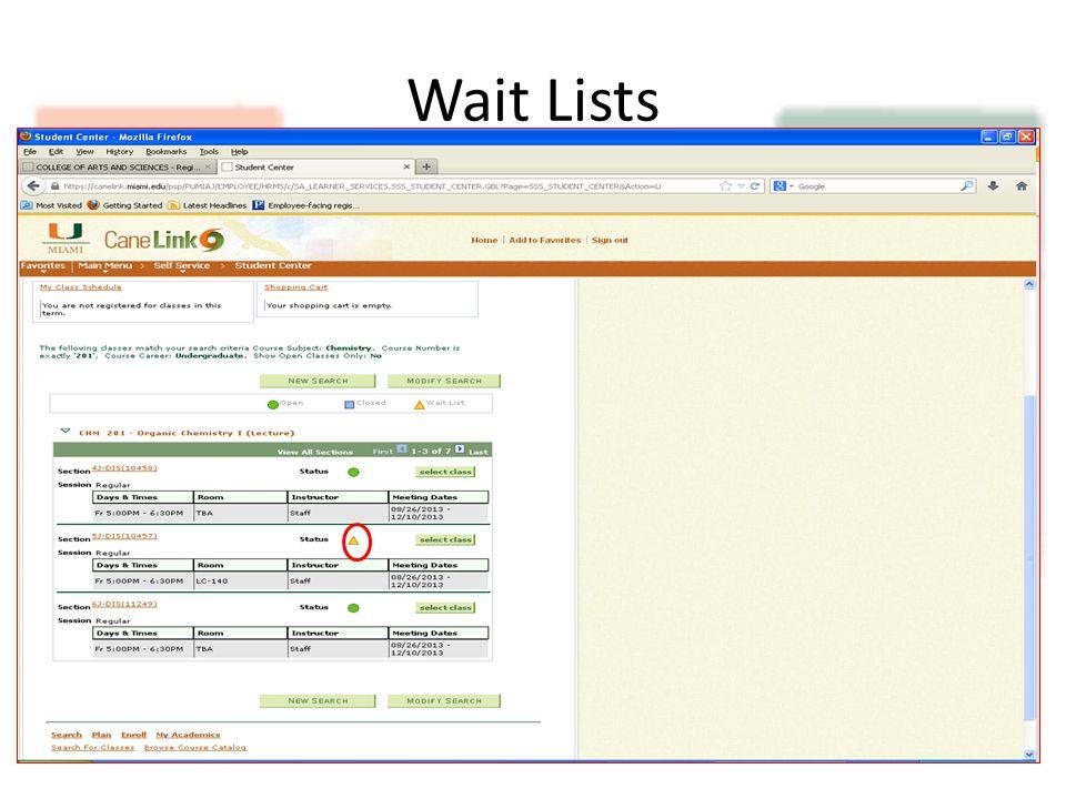 Wait Lists